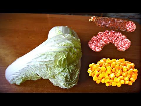 Салат с пекинской капустой, кукурузой и копченой колбасой