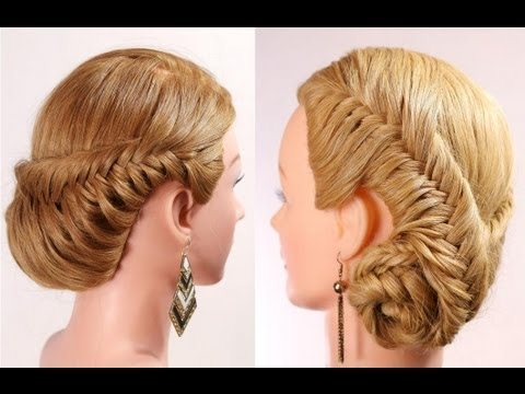 Fishtail braid hairstyle tutorial. Braided updo. - YouTube