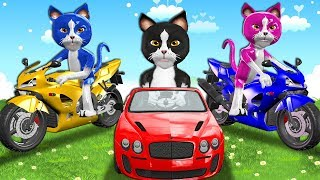 Funny Cats On Power Wheels Unboxing Toys Surprise For Kids - Three Little Kittens Nursery Rhymes