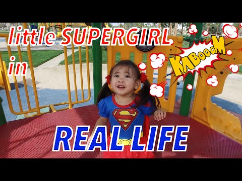 Supergirl real life playing at park | OUTDOOR PLAYGROUND | Allie TVee