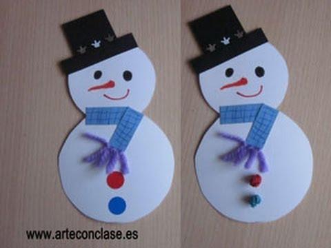 Arte con clase. Navidad: muñeco de nieve. - YouTube