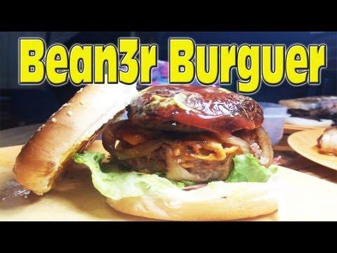 Receta Hamburguesa rellena de queso cheddar envuelta en tocino con bean3r
