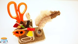 Back to School: Jute Craft Idea for Pencil Holder. Do It Yourself