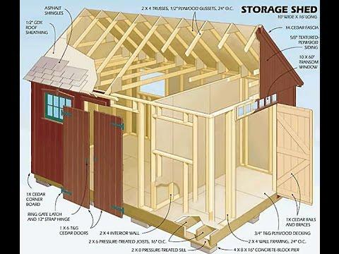 Backyard Storage Shed Plans - DIY Review 12x16 Storage Shed Plans (HD)