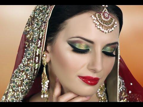 Traditional Indian Bridal Makeup Tutorial - Red Gold Green - Asian Pakistani Arabic Bengali Wedding