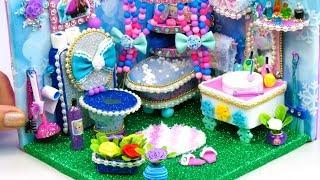 DIY Miniature Dollhouse Bathroom ~ Frozen Elsa Room Decor