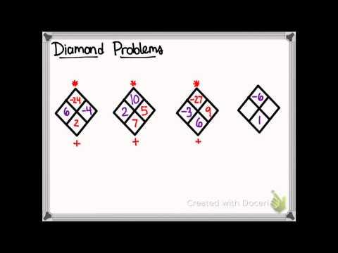 diamond math problems How to do diamond math problems:diamond problems means we have two known numbers and we have to two unknown numbersthe numbers are placed in a diamond.
