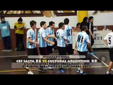 Cestoball Masculino: Cef Salta vs Cultural Argentino La Pampa. Liga Nacional. 5° puesto
