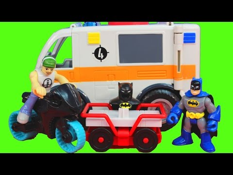Imaginext Joker and Bane take Batman cape from Robin Batcave Dc Superhero toy