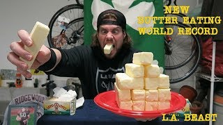 NEW Butter Eating World Record (15 Year Old Record Broken) | L.A. BEAST