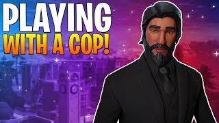PLAYING FORTNITE WITH A COP LIVE! Insane NEW SKINS in Fortnite! END OF SEASON 3 GRIND!