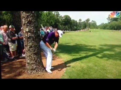 Lee Westwood misses the ball at the first hole - The Players Championship