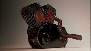 3Ds max - vray rendering motorbike engine .