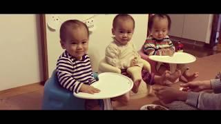 【三つ子】食事の様子 The triplets eat dinner
