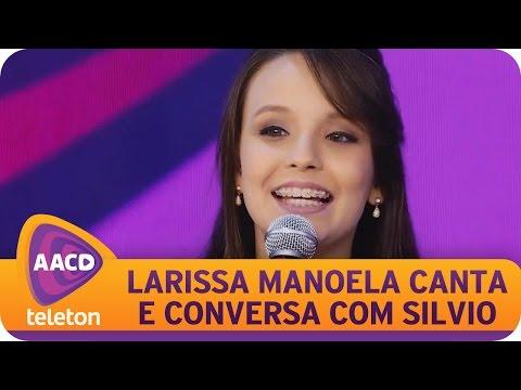 Larissa Manoela canta no Teleton e conversa com Silvio Santos