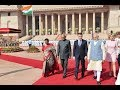 President Kovind accords a ceremonial welcome to President Emmanuel Macron of France