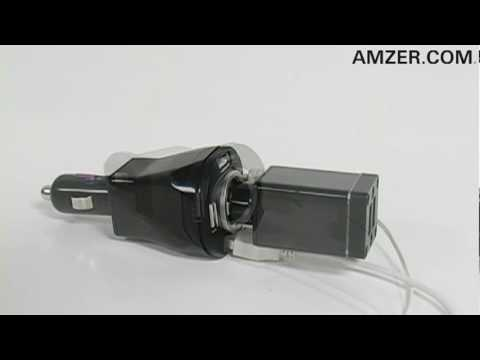 Amzer Quad USB Vehicle Power Charger with Power Socket
