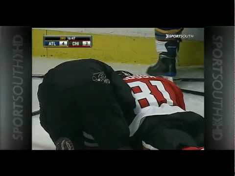 Colby Armstrong levels Marian Hossa Video