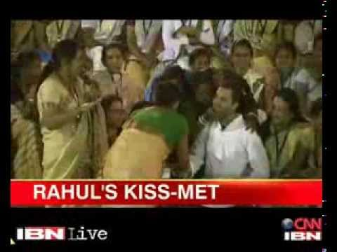 The lighter side of politics - women shower kisses on Rahul