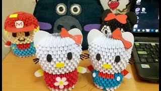 Hướng dẫn xếp Hello Kitty Origami 3D - How to make 3D Origami Hello Kitty