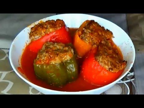 Перец с мясом и рисом.Приготовление фаршированного перца.Фаршированный болгарский перец
