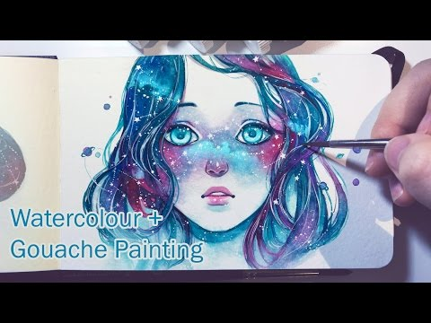Starred Freckles - Watercolor + Gouache Painting Timelapse