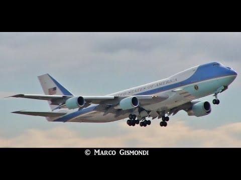 AIR FORCE ONE a Roma Fiumicino - decollo / takeoff (28-03-2014)
