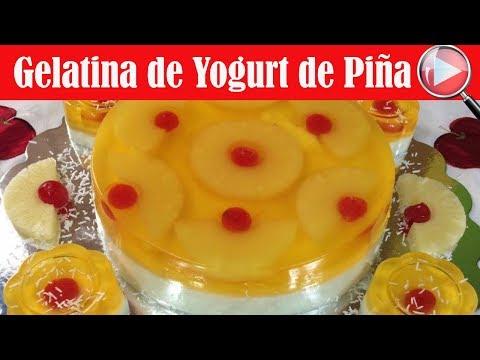 Gelatina de Yogurt de Piña Colada - Recetas en Casayfamiliatv