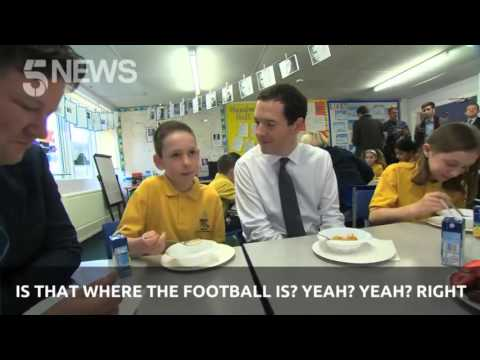 UK Chancellor George Osborne tries to interact with children - unsuccessfully