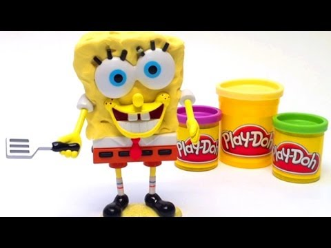 Play Doh Spongebob Squarepants Playset Mold a Sponge Nickelodeon playdough Bob Esponja plastilina