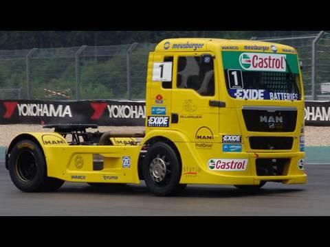 2. Lauf ADAC Mittelrhein Cup mit Hans Joachim Stuck im MAN Racetruck vom Team Allgäuer, eine Runde Inboard Nürburgring GP-Strecke Kurzanbindung.