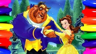 Disney Princess Belle | Beauty and the Beast | Coloring Book Pages | Kids Videos learning Colors