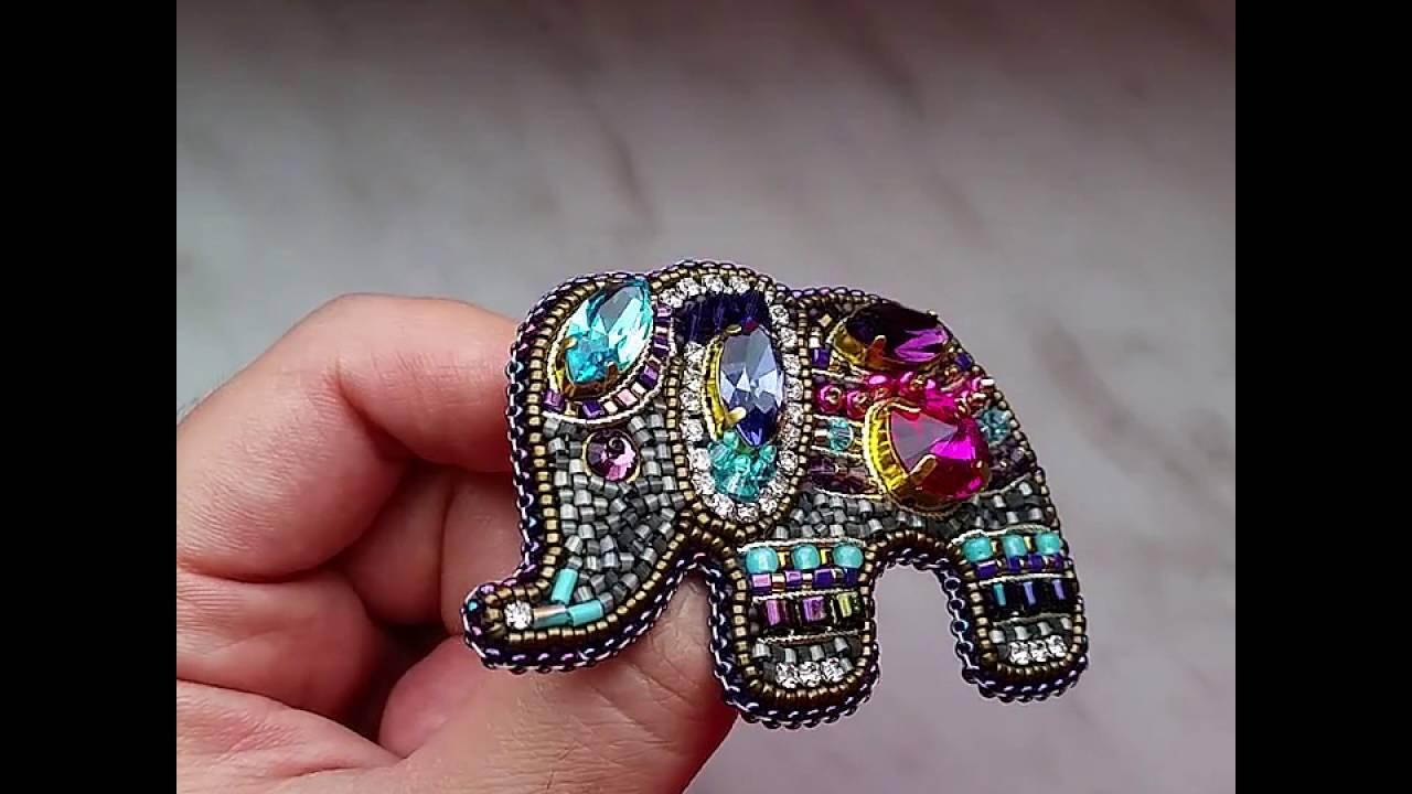 Брошь слоник из бисера своими руками