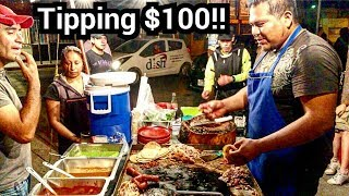 """$100 Dollar TIP - MEXICAN Street TACOS - MONEY Sent From SUBSCRIBERS!!! - """"EL MEXICANITO"""" TACOS"""