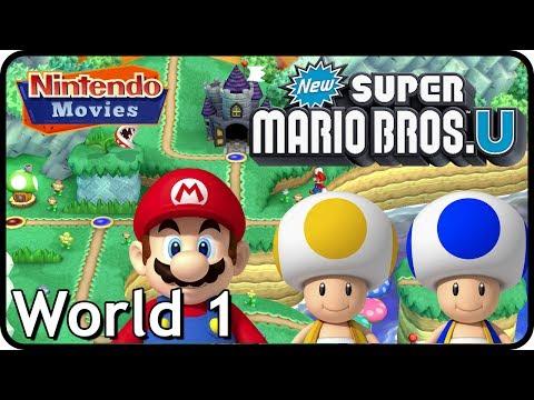 New Super Mario Bros. U: World 1 Acorn Plains (All Star Coins 100% Multiplayer Walkthrough)