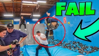 INSANE SUPER TRAMPOLINE PARK FAIL!!!! (NEAR DEATH)