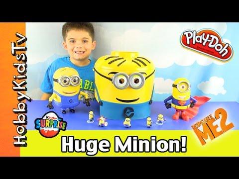 Play-doh Giant Lego Head Minion Makeover! Surprise Kinder Egg, Hobbykidstv video