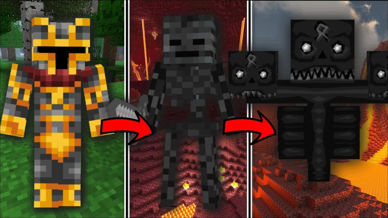 Minecraft LIFE AS A WITHER SKELETON MOD / SURVIVE THE BATTLE OF THE SKELETONS!! Minecraft