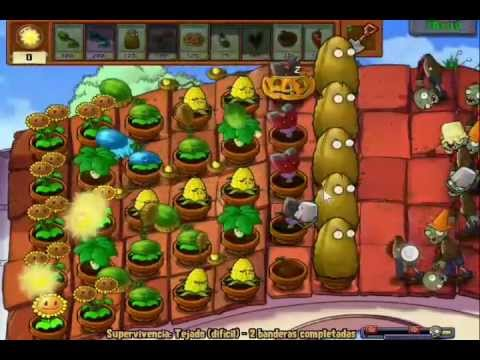Guia Plantas vs Zombies SUPERVIVENCIA Tejado Dificil (1/3)