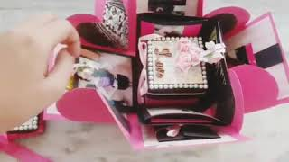 Four Layered Explosion box | Pink Explosion box | Falling Card | Exploding Card