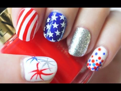 4th of July Nails (Konad Stamping AND Freehand)