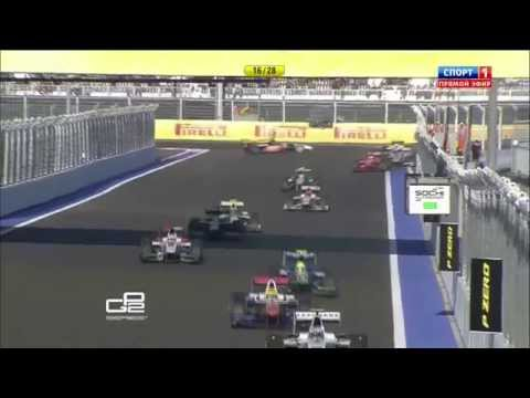 Sorensen and Abt Contact @ 2014 GP2 Sochi Race 1