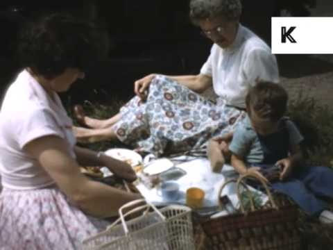 1950s Family Picnic, England, UK, Colour Home Movie Archive Footage