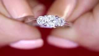 0.75ct Three Stone Diamond Engagement Ring set in 14kt White Gold