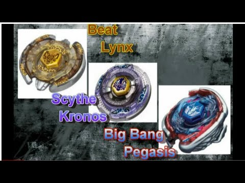 Beyblade 3-way: Beat Lynx vs Scythe Kronos vs Big Bang Pegasis