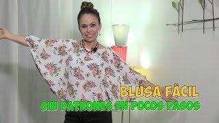 DIY Blusa Fácil sin Patrones en Pocos Pasos Easy Blouse without Patterns in Few Steps- Omaira tv