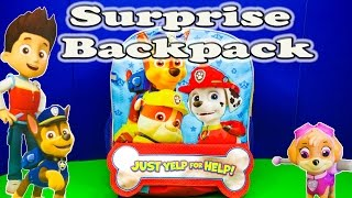 Opening the  Paw Patrol Surprise Backpack and Toys with the Assistant