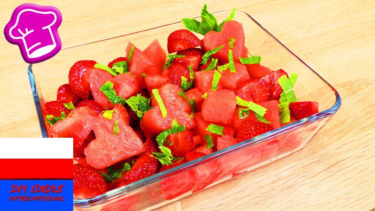 Orzeźwiająca przekąska na lato ♥ sałatka z arbuzem, truskawką i miętą | prosty pomysł