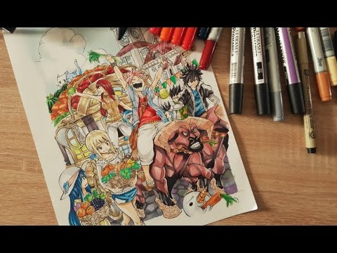 SPEED PAINTING - FAIRY TAIL - ARTBOOK COVER ( HARVEST ) - COPICS/PROMARKERS/MICRON