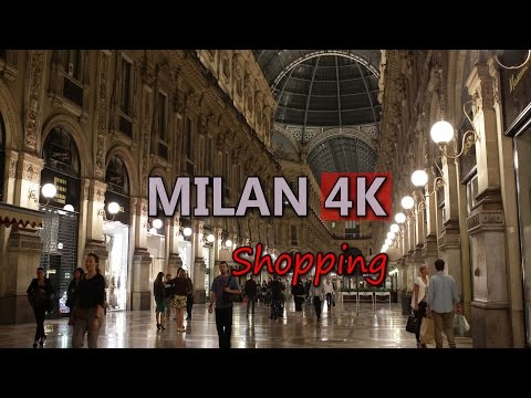 Ultra HD 4K Milan Travel Lifestyle Shopping Street Fashion Shop Milano Italy UHD Video Stock Footage